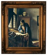 Vermeer The Geographer Wood Framed Canvas Print Repro 11x14