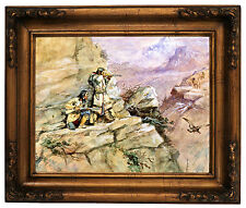 Russell Hunting Big Horn Sheep 1898 Wood Framed Canvas Print Repro 11x14