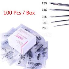 100Pcs Body Nose Ear Piercing Needles Disposable Sterile 12/14/16/18/20G/Mix