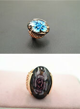 Fashion Vintage Trendy Rose Gold Plated Glaze Women Ring Party Jewelry Gift