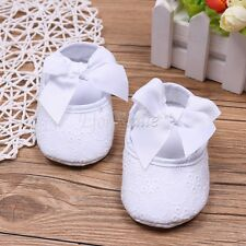 Baptism Baby Girl White Lace Floral Christening Booties Blessing Dance Bow Shoes