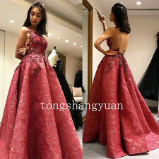 Backless Long Formal Prom Party Gowns Applique Red Evening Dresses Custom Size