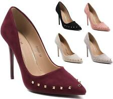 LADIES POINTED HIGH HEEL STUDDED SMART WORK PARTY WOMENS COURT SHOES PUMPS SIZE