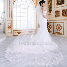 Ivory White Long Wedding Veils Cathedral 1T Appliques Lace Edge Bridal Veil Comb
