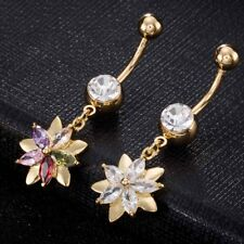 1Pc Double Flower Steel Rhinestone Crystal Navel Belly Ring Button Body Piercing