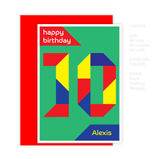 Personalised 10th happy birthday card for boy for girl edit name 10 bday modern