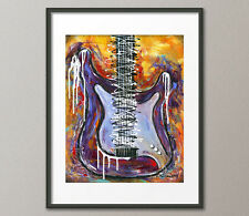 Lg. Canvas and Fine Art Prints Modern Stratocaster Guitar Instrument Abstract
