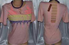 CERES Pink Embroidered Aztec open back V neck Short Sleeve Top Sz S M L NWT *