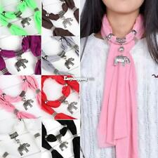 WOMEN LADIES Alloy Elephant Pendant Scarf Charm Ring Jewelry Necklace Scarves