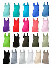 NEW WOMENS FRENCH MUSCLE BACK SLEEVELESS JERSEY LADIES VEST TOP SIZE 6-12
