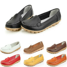 Women Ladies Casual Leather Slip On Ballet Walking Loafers Oxfords Flats Shoes