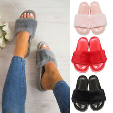 Ladies Comfy Solides Fur Slip On Mules Flats Women Beach Shoes Sandals Slippers