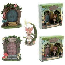 Fairies Welcome Door Flower Garden Fairy Magical Ornament Gift Set Figurine