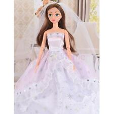 Handmade Wedding Dress Hat/Veil Party Gown Clothes Outfits for Barbie Dolls