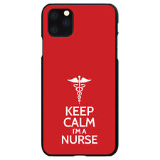 """Hard Case Cover for iPhone 5 SE 6 S 7 8 PLUS Red White """"Keep Calm I'm a Nurse"""""""