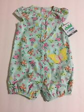 Child Of Mine by Carters Girl Green Butterfly Floral 1 Piece Romper 0-3, 6-9, 12