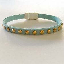 Faux Suede Studded Bracelet - Turquoise with Silver Plated Magnetic Clasp