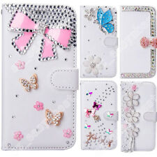 Bling Flip Leather Wallet Stand Case Cover Gems Crystal Shell For Samsung Galaxy