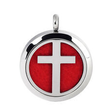 Cross Necklace Pendant Lockets Stainless Steel Aromatherapy Diffuser Fragrant