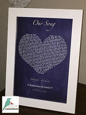 Love heart song lyrics personalised - Chalkboard style print - Any Song!