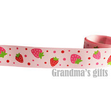 "1""25mm Strawberry grosgrain ribbon 5/10/50/100 yards hairbow Wholesale"