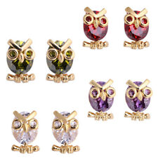 Women Fashion Owl Cubic Zirconia Stud Earrings Party Jewelry Charm Gift Speedy