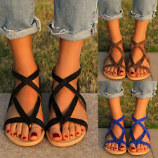 Women Gladiator Roma Sandals Flat Ankle Strap Shoes Beach Party Buckle Slipper