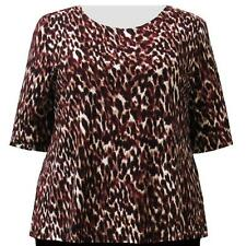 A Personal Touch Women's Plus Size Wine Leopard Top
