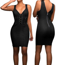 Women's Bandage Bodycon Dress Sexy Party Cocktail Short Hollow Out Skirt Black