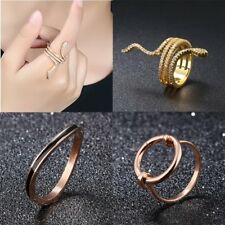 New Fashion Women Lady Stainless Steel Rings Jewelry Crystal CZ Gold Plated Gift