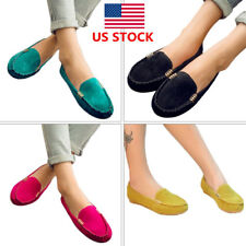 US Ladies Women Slip On Low Flats Anti Skid Moccasin Work Shoes Loafers Oxfords