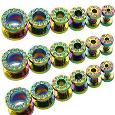 2PC RAINBOW CZ GEM SCREW ON TITANIUM SURGICAL STEEL EAR TUNNEL PLUG EARLET GAUGE