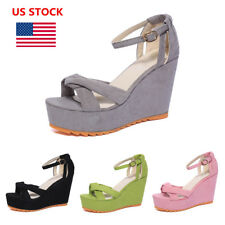 US Women Ladies Thick Bottom Wedge High Heels Buckle Ankle Strappy Sandal Shoes