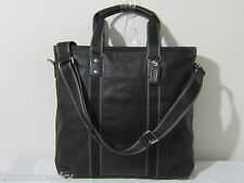 $448 Black COACH Men HERITAGE WEB LEATHER UTILITY TRAVEL CARRY ON TOTE BAG 70560