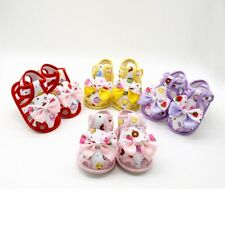 Newborn Baby Girl Floral Soft Sole Shoes Toddler Princess Bow Sandals Prewalkers