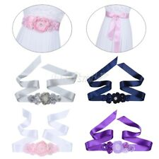 3D Floral Pearls Bridal Sash Waist Belt Satin Ribbon Wedding Bridesmaid Dress