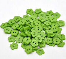 12mm Green Buttons Green Flower buttons with 2 holes Sewing, Knitting, cards,