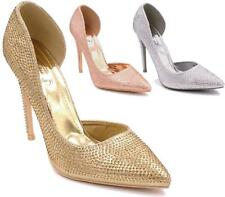 LADIES WOMENS POINTED HIGH HEEL DIAMANTE BRIDAL PROM PARTY PUMPS COURT SHOES NEW