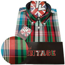 Warrior UK England Button Down Shirt COLDO Slim-Fit Skinhead Mod Retro