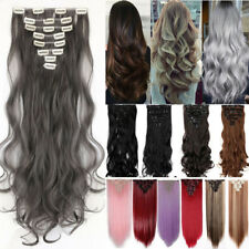 Full Head Real Ombre Clip In hair Extensions 8Pcs 18Clips On Straight Wavy FH8