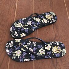 TORY BURCH Flip Flop Black Floral 6 7 8 9 10 Gold Logo Thong HOPEWELL Sandal NEW