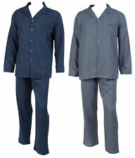 Walker Reid Mens Striped Pyjamas 100% Cotton Button Up Top Traditional PJs Set