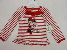 Disney Baby Top Minnie Mouse Red Stripe Long Sleeve Sequined Sz 3 - 24 Mo #4080