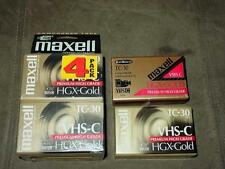 (6) Maxell VHS-C HGX-Gold TC-30 Video Cassette Tape Camcorder Premium High Grade