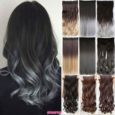 3/4 Full Head Real Thick Clip In Hair Extensions Long Straight Wavy Hairpiece fk