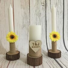 Wedding Candles with Sunflower Personalized Unity Candle Sets with Candle Holder