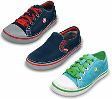 """CHILDREN CROCS """"HOVER SNEAK"""" LACE UP SLIP ON LOW TOP CASUAL CANVAS SHOES"""