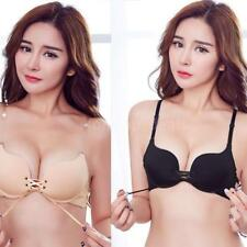 Women Lace Up Push Up Bra Underwire Lingerie Seamless Soft Padded Brassiere P3T2