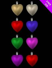 Set Of 8 50mm Heart Baubles Glitter Matt Hanging Christmas Xmas Tree Decorations
