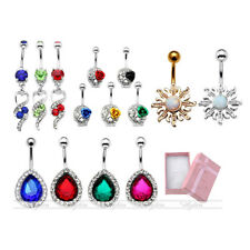 14G Stainless Steel Rhinestones Navel Belly Barbell Button Ring Waist Piercing